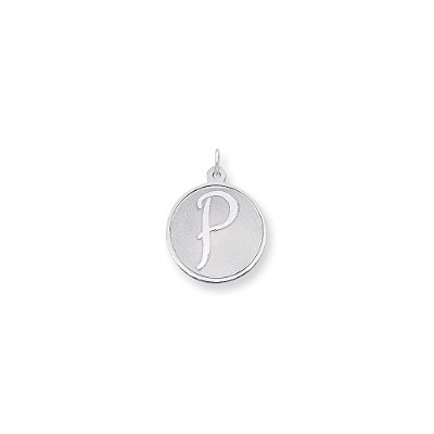 Beautiful Sterling silver 925 sterling Sterling Silver Rhodium-plated Brocaded Initial P Charm...