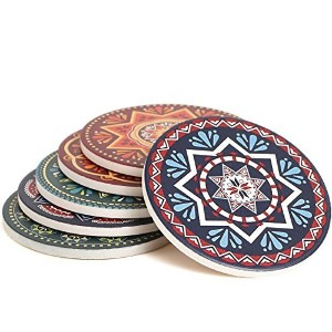(6 Different Mandala) - ENKORE Absorbent Coasters For Drinks, 6 Ceramic Stones With Cork Backig,...