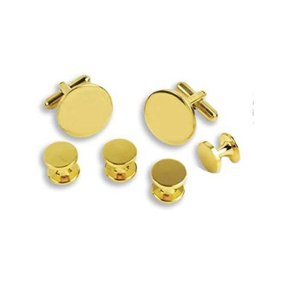 Polished Gold Tuxedo Cufflinks and Studs