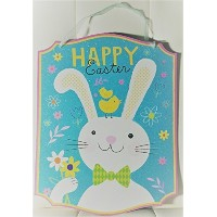 Happy Easter壁装飾with Bunny -13.75インチx 10.75インチ