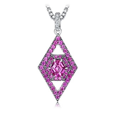 JewelryPalace ヘキサゴン カート 2.1ct 人工 ピンク サファイア ペンダント ネックレス スターリング シルバー925