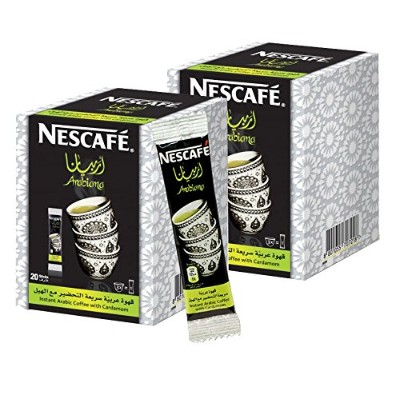 Instant NESCAFÉ Arabiana Arabic Coffee Mix With Cardamom Flavor - Small Sticks (2 Boxes (40 Sticks))