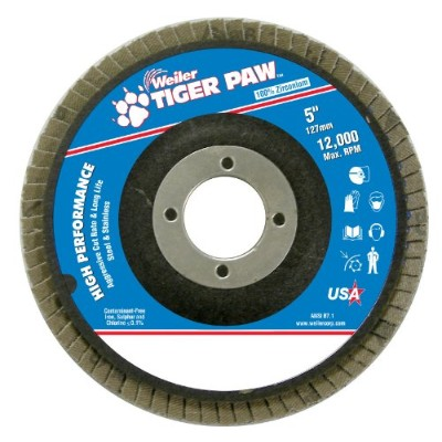 Weiler 51134 Tiger Paw High Performance Abrasive Flap Disc, Type 27 Flat Style, Phenolic Backing,...