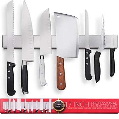 Premium 43cm Stainless Steel Magnetic Knife Holder - Professional Magnetic Knife Rack - Space...