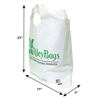 Reusable Sturdy Green Plastic Shopping Bags 2.3 Mil Thick - 50 Large Bags by RileyBags