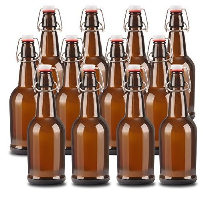 16ozオレンジガラスBeer Bottles With Easy Wireスイングキャップ&気密ゴムシール。Perfect forホーム醸造ワイン。¡ 12 PACK イエロー STSD66-12