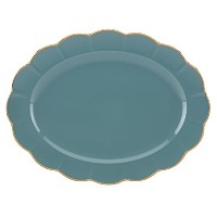 (Teal, Oval Platter) - Marchesa Shades of Teal Oval Platter by Lenox