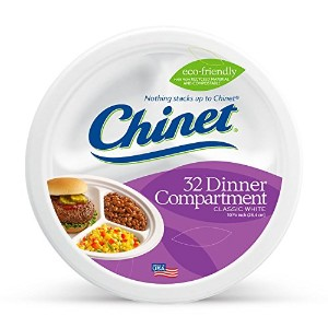 Chinet Classic White Compartment Plate, White, 10-3/8 Inch, 32 Count by Chinet