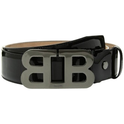 バリー メンズ ベルト【Mirror B Adjustable Patent Leather Belt】Black