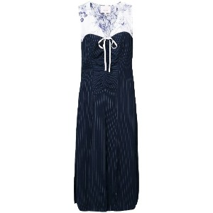 Cinq A Sept floral print layered pinstripe dress - ブルー