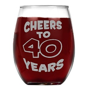 shop4ever Cheers to 40Yearsレーザー永久に刻印Stemlessワインガラス~ギフトfor Wino ~ 40th Birthday Drinking Cup ~ (...