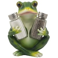 Decorative FrogガラスSalt and Pepper Shaker Set with Display Stand Holder Figurine for CottageキッチンテーブルD...