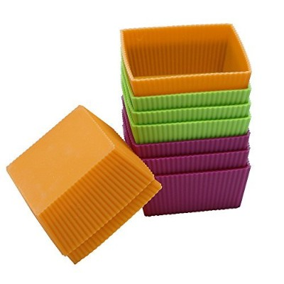 Webake 9-Pack 8.5cm Jumbo Silicone Cupcake Liners Thicken Non-stick Cake Mould (Square)