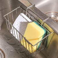 THETIS Homes Kitchen Sponge Holder, Sink Caddy Organiser Stainless Steel Holders Dishwashing Liquid...