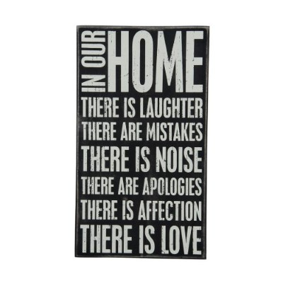 Primitives by Kathy Box Sign, 10 by 17.5-Inch, In Our Home by Primitives By Kathy