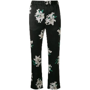 Dondup cropped floral print trousers - ブラック