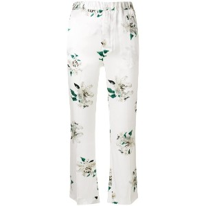 Dondup cropped floral print trousers - ホワイト