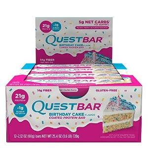 Quest Nutrition Protein Bar, Birthday Cake, 21g Protein, 5g Net Carbs, 180 Cals, 2.1oz Bar, 12...