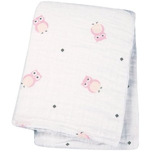 "lulujo Baby Muslin Cotton Swaddling Blanket, Owl Always Love You/Pink, 47"" x 47"" by lulujo [並行輸入品]"