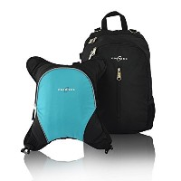 Obersee Rio Diaper Bag Backpack with Detachable Cooler, Black/Turquoise by Obersee [並行輸入品]