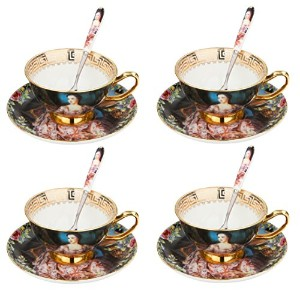 artvigor Queen油彩画コーヒーServingセット、新しいBone ChinaゴールドRimmed Cup & Saucerセットwith Spoon for 4