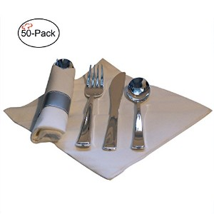 Tiger Chef 16インチPre Rolledカトラリーin linen-feelホワイトナプキンandブラックHeavy WeightプラスチックSilverware with...