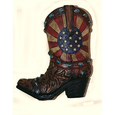 Mini Cowboy Boot Toothpick/Pen Holder with Patriotic Stars and Stripes Pattern (13cm tall x 11cm...