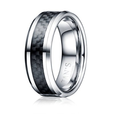 (11) - TAN'S 8mm Men's Tungsten Ring Wedding Band in Comfort Fit Black Carbon Fibre Inlay/Bevelled Polished Edge