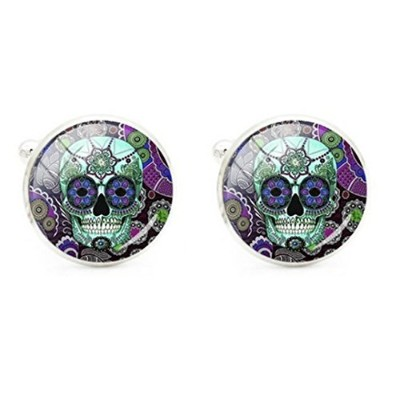 スチームパンク – Colorful Sugar Skull Cufflinks – Dia De Los Muertos – Day of the Dead – メキシコ – Sugarskull...