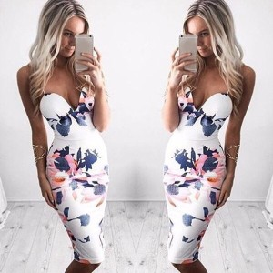 Fashion Women Newest Sexy Sling Party Dress Hot Sale Lady High Quality V-neck Flowers Printed Straps
