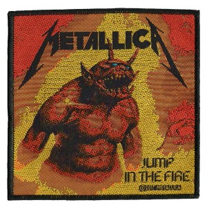 METALLICA・JUMP IN THE FIRE 糊なし刺繍ワッペン メタリカ オフィシャルパッチ【RCP】【コンビニ受取対応商品】