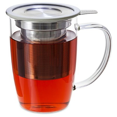 FORLIFE NewLeafガラスTea 473ml Mug with Infuserと蓋 16-Ounce/473 ml ホワイト 暂无