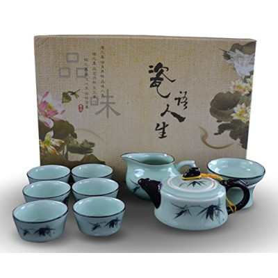 9 pcハンドメイドCeladon Porcelain TeaセットFine Tea Pot Tea Cups従来Longquan Kiln竹