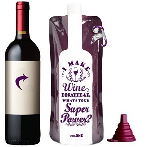Take a Wine - Wine Gift! Foldable Unbreakable Wine Bottle, Reusable Travel Gear Accessories Bag For Camping, Hiking, Beach! +Silicone Funnel! Fun Gifts For Her Him Mom & Friends! (Purple) by Cool One