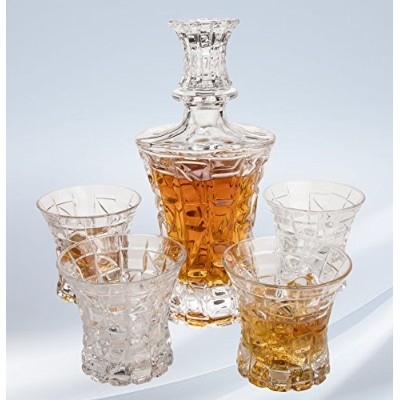 Regal Whiskey Decanter Set with 4 Scotch Glasses by Angels 'カット。Hand Crafted Whisky、BourbonまたはLiquor...