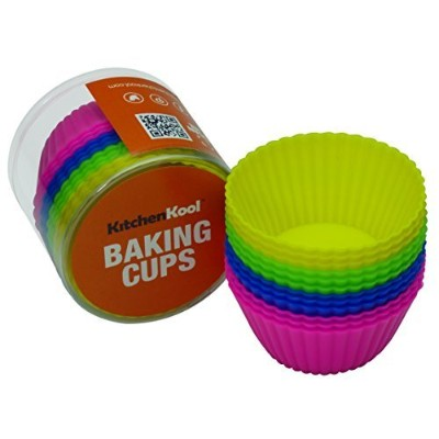 KitchenKool Silicone Cupcake Baking Muffin Cups Liners Moulds - set of 12