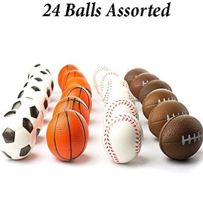 (Multicolored (24 pack)) - Adorox (24 Balls Assorted) Mini Sports Balls Stress Relief Squeeze