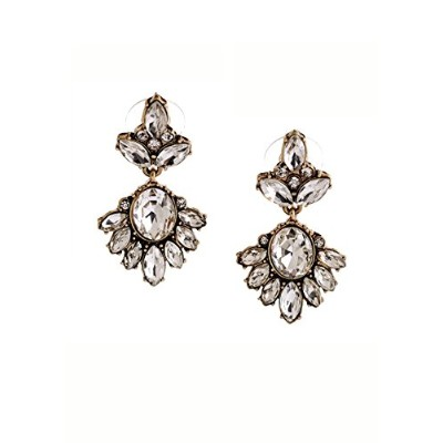 Happiness Boutique Women Statement Earrings Rhinestones in Clear Colour Flower Crystal Drop...
