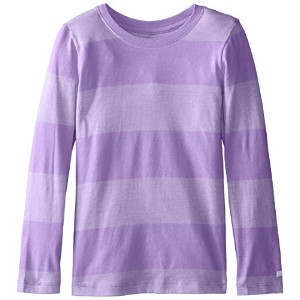 Soffe 246G516LRG Rugby Long Sleeve Striped Capri Tee Shirt for Girl, Passion Flower - Large