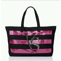 (ヴィクトリアシークレット トートバッグ) Victoria s Secret Limited Edition Black and Pink Sequined Tote Bag