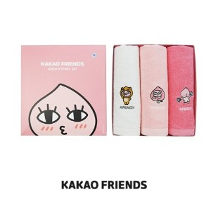 【Kakao friends】カカオフレンズアピーチ刺繍タオル3枚/Kakao friends embroidered apeach towel 3p set/3枚セット・40X80㎝