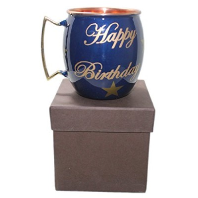 (Blue) - STREET CRAFT Happy Birthday Hand Painted Copper Mugs Special Deign For Gift On Birthday...
