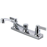 Kingston Brass FB2121NDL 8 in. NuvoFusion Centerset Kitchen Faucet & Metal Lever Handle Polished...