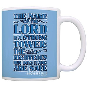 Christian Gifts名前のThe Lord Is A Strong Tower Verseギフトコーヒーマグティーカップ 11オンス ブルー COMINHKPR129272
