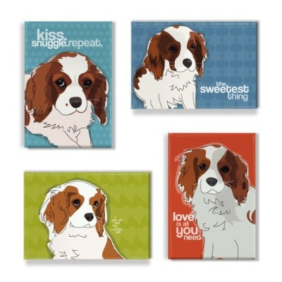 Cavalier King Charles Spanielギフトセットの4冷蔵庫マグネットwith面白いことわざ、Cavalier King Charles Spaniel Art Funny...