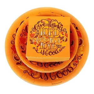 Give Thanks To The Lord Scripture Dinnerware Bundle – 3 Items : Dinner Plates、Dessert Plates...