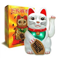 "Monkey KingホワイトFeng Shuiラッキー猫Lucky Beckoning揺れるWealth Cat Maneki Neko 5 "" Tall"