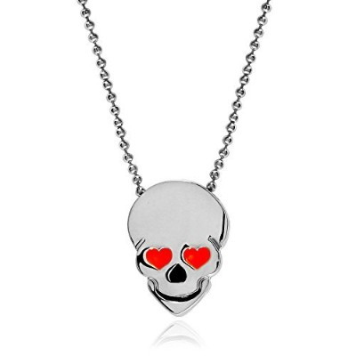 TuShuo Gothic Skull Pendentパンクロック研磨ネックレス、18インチビーズチェーン