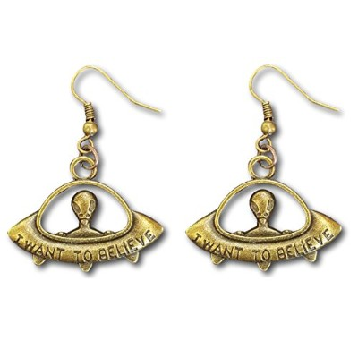 "(Bronze) - UFO""I Want to Believe"" Spaceship Alien Planet Dangle Earrings by Pashal"