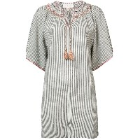 The Great striped embroidered smock dress - ホワイト